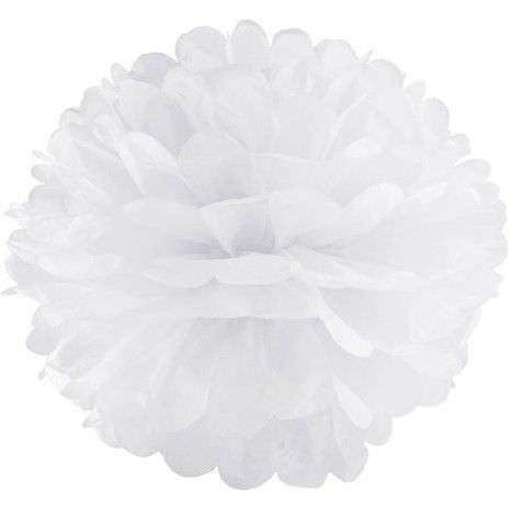 белый бумажный помпон