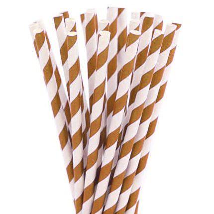 Бумажные трубочки в коричневую полоску