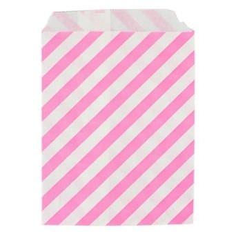 Розовый бумажный пакет в полоску