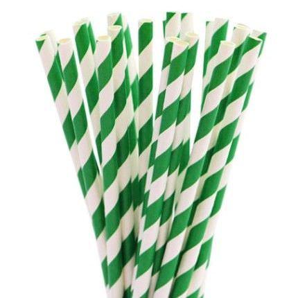 Бумажные трубочки в зеленую полоску