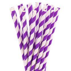 Бумажные трубочки в фиолетовую полоску