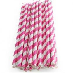 Бумажные трубочки в ярко розовую полоску