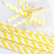 желтые бумажные соломки в полоску